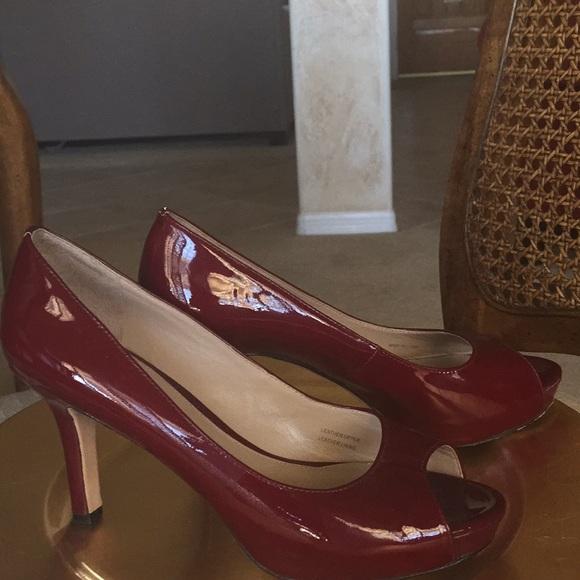 b9d6efdaffd 88% off Via Spiga Shoes Candy Apple Red Open Toe Heels